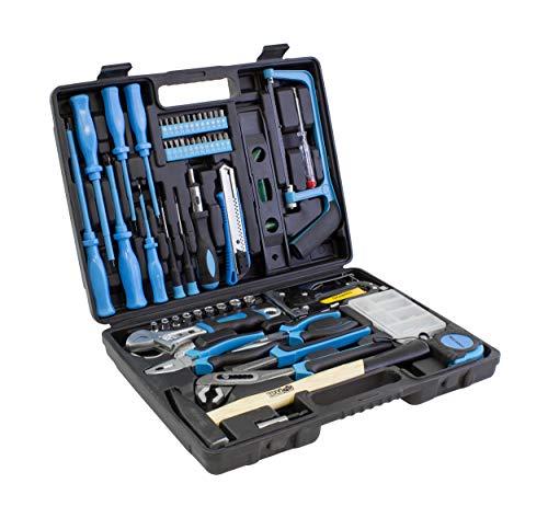 Karcher maletín de herramientas - 60 piezas incluye martillo, alicates, juego de destornilladores, cinta métrica, sierra, grapadora y mucho mas
