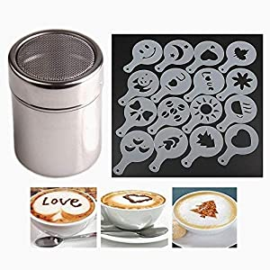 Chocolate Shaker Duster(Stainless Steel)+ 16pcs Cappuccino Coffee Stencils Template Duster Spray Art