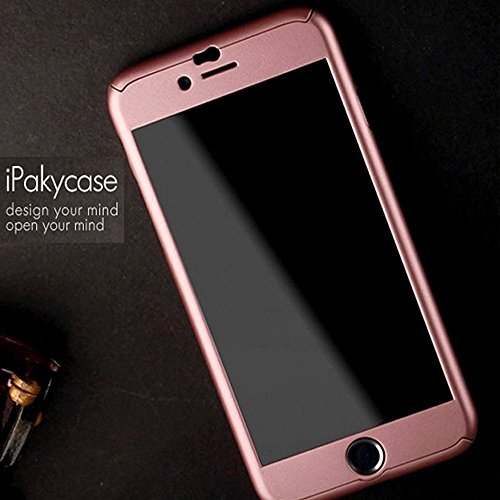 iPhone 6 Case 4.7 Inch, ORIGINAL JMV IPAKY All-round Protective Slim Fit Case Cover with Tempered Glass Screen Protector Skin Slim Fit Case Cover for Apple iPhone 6/6S 4.7 Inch (Rose Gold)