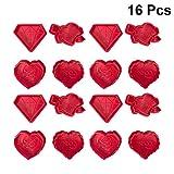 Happyyami 16 pezzi stampo in silicone plastica rosa diamante a forma di cuore fondente stampo per cioccolato strumenti per decorare torte per forniture per la festa nuziale di san valentino