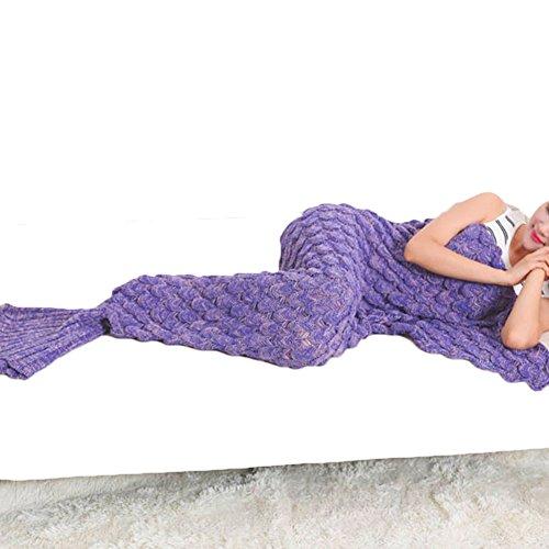 Coperte Mermaid Tail per adulti, morbido e tiro coperta calda lavorata a maglia Crochet delle scale di pesci del modello sacco a pelo in divano letto in camera o in campeggio, Dimensioni 190 centimetri per 90 centimetri(luminoso
