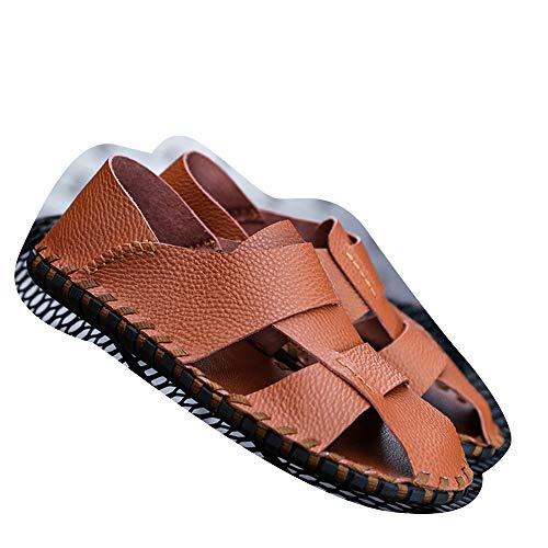 Casual Suede Shoe Strandschuhe Wasserdichter weicher Boden Freizeitschuhe Wilde Sandalen Sandalen Herren Baotou Schwarze Ledersandalen Herren Sneaker (Farbe : Braun, Size : 43)