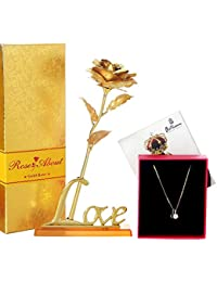 IGP Valentine Day Gift Metal Golden Rose With Heart Shape CZ And Zarkin Work Fashion Pendant With Chain For Women...