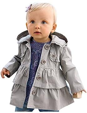 YiZYiF Baby Mädchen Kinder Jacke Trenchcoat Frühling Herbst Mantel mit Kapuzen Outwear Gr. 80 92 98 104 110
