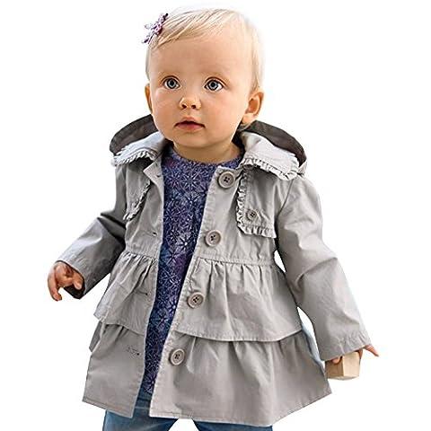 Baby Mädchen Kinder Jacke Trenchcoat Winter Mantel mit Kapuzen Outwear Gr. 80 92 98 104 110 Grau 92