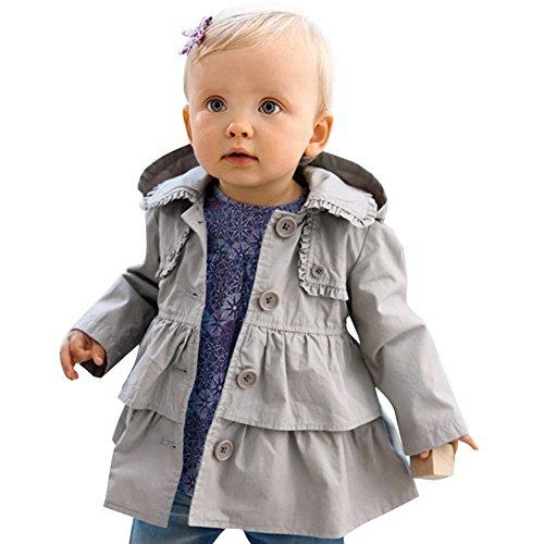 Baby Mädchen Kinder Jacke Trenchcoat Winter Mantel mit Kapuzen Outwear Gr. 80 92 98 104 110 Grau 92 (Herstellergröße:90)