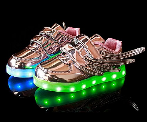 Fortuning's JDS Unisex Lackleder Flügel Art blinkende Turnschuhe Flausch USB aufladende beschuhende Schuhe LED leuchtende Schuhe Violett