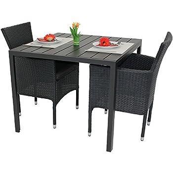 Terrassenmöbel rattan sessel  Amazon.de: 3tlg. Gartenmöbel-Set Aluminium Polywood Tisch 90x90cm ...