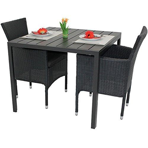 Multistore 2002 3tlg. Gartenmöbel-Set Aluminium Polywood Tisch 90x90cm + 2X Poly-Rattan Sessel...