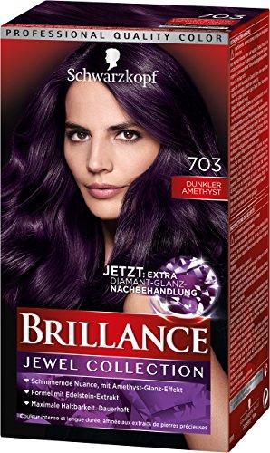 Schwarzkopf Brillance Intensiv-Color-Crème, 703 Dunkler Amethyst Stufe 3, 3er Pack (3 x 143 ml)