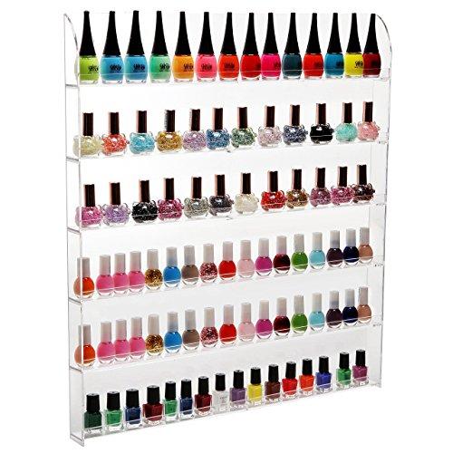 (102Flaschen) 6Regal Pro CLEAR Acryl Nagellack Rack/Salon Wand montiert Organizer Display-MyGift... (Nagellack Nagellack Und Rack)
