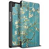 Infiland Huawei MediaPad M5 8.4 Hülle Case, Ultra Dünn PU Leder Superleicht Tri-Fold Ständer Schutzhülle Etui für Huawei MediaPad M5 8,12 Zoll Tablet-PC(mit Auto Schlaf/Wach Funktion),Blühen
