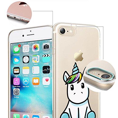 finoo | iPhone 8 Plus Weiche flexible Silikon-Handy-Hülle | Transparente TPU Cover Schale mit Motiv | Tasche Case Etui mit Ultra Slim Rundum-schutz | Princess white Einhorn