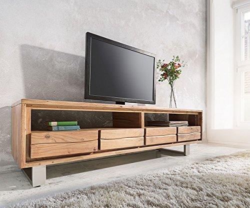 DELIFE Fernsehtisch Live-Edge Akazie Natur 190 cm 2 Fächer 4 Schübe Baumkante Lowboard