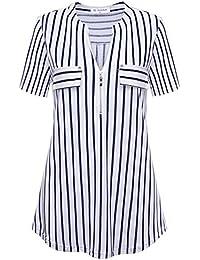Bulotus Mujeres Atractivas Cuello En V Manga Corta TES De Las Camisetas  Blusas con Cremallera b9628217e049
