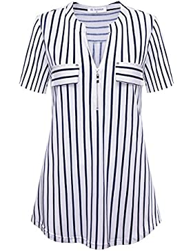 Bulotus Mujeres Atractivas Cuello En V Manga Corta TES De Las Camisetas Blusas con Cremallera