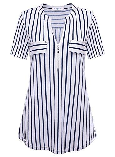 Bulotus Damen Kurzarm Bluse Shirts Falten Tunika Oberteile(Weiß,S)