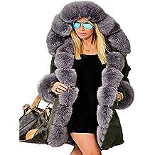 Roiii - Abrigo de invierno (piel sintética, con capucha, tallas de tallas de