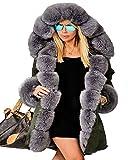 Roiii® Damen Winter Frühling Luxus Kunstpelz mit Kapuze Verdicken Parka Outdoor Snow Jacke Oberbekleidung Plus Größe