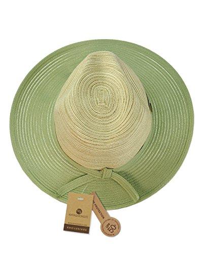 Chapeau d'été de style Panama à rebord, accentuée d'une bande tissée de couleur assortie. Produit offert par NYFASHION101. Vert