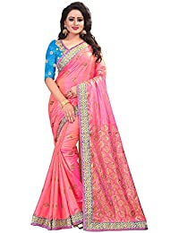 Ecolors Fab Women's Paper Silk Printed Embroidered Saree With Blouse Piece