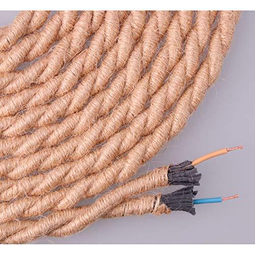 EDM Kabel aus Jute, Geflochten, 2 x 0,75 mm, Durchmesser 10 mm