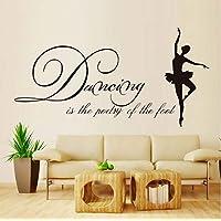 Art Wall Sticker Dance is The Foot of The Poetry Vinyl Art Wall Applique Modern Ballet Living Room Ballerina Wall Sticker Self-Adhesive 59X30Cm