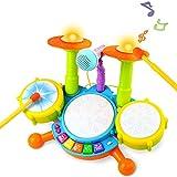 Batería Juguete Instrumentos Musicales Infantil con Canciones Infantiles Kit de Batería ElectróNica Idea de Regalo para Niños, 3 Años +