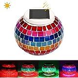 Lumière de jardin solaire solaire Lumière colorée en mosaïque colorée Lumière de balle de verre Lumière de pelouse avec couleur RVB Changement graduel et LED blanche pour décoration de décoration de Noël Décoration de Noël