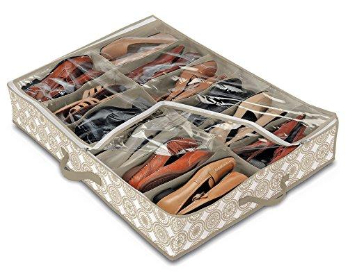 Domopak living 910098 custodia scarpe 12 scomparti, peva/polipropilene, beige, 60 x 76 x 15 cm