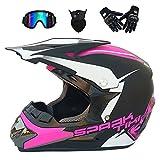 MX Adult Off-Road Helm Motocross Sicherheitshelm Motorrad ATV Headguard Mit Brille Gesicht Maske Handschuhe Asiatische Schwarzpulver Ghost Head (S, M, L, XL),M
