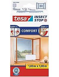 tesa Insect Stop COMFORT Fliegengitter für Fenster - Insektenschutz mit Klettband selbstklebend - Fliegen Netz ohne Bohren