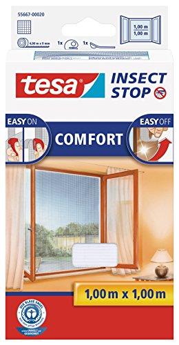 tesa Insect Stop COMFORT Fliegengitter für Fenster - Insektenschutz mit Klettband selbstklebend - Fliegen Netz ohne Bohren - weiß (leichter sichtschutz), 100 cm x 100 cm