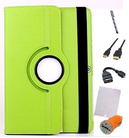 Theoutlettablet Funda Giratoria 360º para Tablet Bq Aquaris M10 10.1' Book Cover Case Protección Delantera y Trasera Color Verde Pack 7 en 1