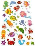 klein Sealife Meerjungfrau & Oktopus Sticker Kinder Etiketten für Kinder basteln