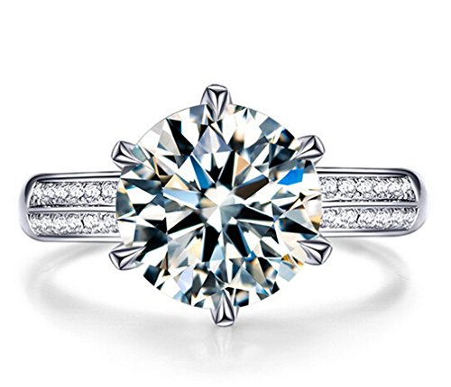 Boowohl Damen-Ring Partnerringe Hochzeitringe Ehering 925 Sterling Silber Diamant Zwei Schmetterling Hypoallergen Ringe Eröffnungringe Verstellbar Ring (Zirkonia 8MM) (Sterling Silber 8mm Eheringe)