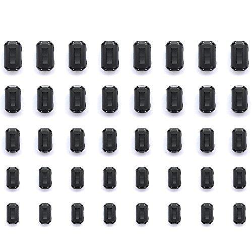Mflying 40 Stück magnetischer Ferritring-Kern zum Anklemmen von RFI, EMI, Rauschunterdrückung, Kabel-Clip für 3,5 mm/5 mm/7 mm/9 mm/13 mm Durchmesser, 8 Stück je - Kern-filter