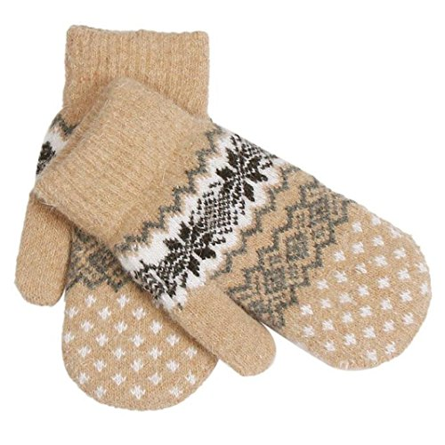 Sannysis Frauen Knit Wolle Fäustlinge Schneeflocke Winter Keep Warm Handschuhe