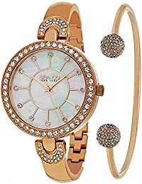 So & Co New York 5296. Juego. 3 de la mujer cuarzo rosa tono caso blanco madre de perla Dial Rose tono brazalete reloj de pulsera