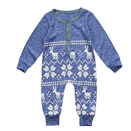 Biancheria natale neonato bimbo bimba, laamei tutine punto mono tuta costume di natale per natalizio a maniche lunghe per bambini 0–18mesi s(3-6m) natale blu