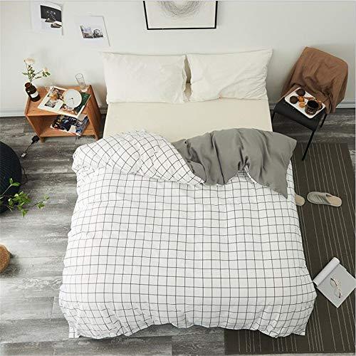 LYDM Quadratisches Gitter Einzelstück Bettbezug 100% Polyester Student Erwachsener Bettbezüge King Size Bett Garnitur Hypoallergen 180 X 200 (King-size-betten Ensembles)