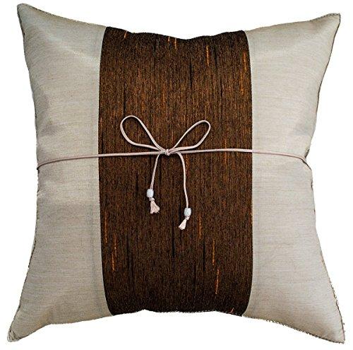 narphosit 40,6x 40,6cm Crepe gestreift Überwurf Kissenbezug Dekorative Sofa Couch Kissenbezug, Seide, Ivory/Brown, 16x16 - Ivory Seide Werfen