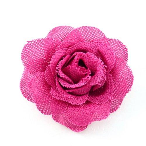 rougecaramel - Accessoires cheveux - Broche fleur mariage ou pince cheveux en sisal - fuchsia