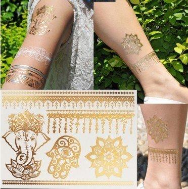 Mandala l'éléphant Tatouages Temporaires Métalliques tatouages flash bijoux de peau G19