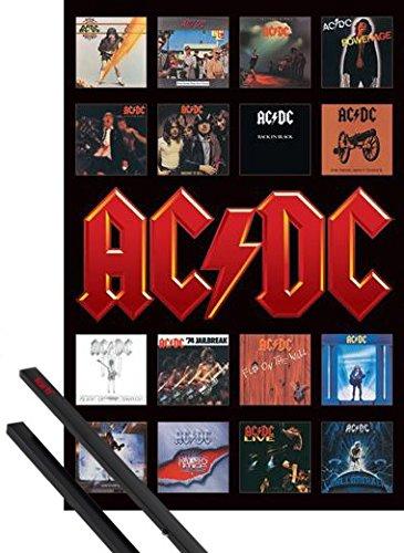 Poster + Sospensione : AC/DC Poster Stampa (91x61 cm) Copertine Album E Coppia Di Barre Porta Poster Nere 1art1®