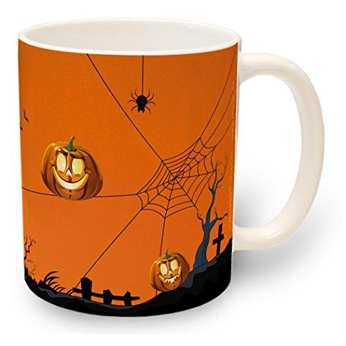 TRIOSK - Tasse Halloween Deko - Kaffee-Becher Kaffee-Tasse Teetasse Trinkbecher Kinder mit Motiv Kürbis (Smiley Halloween Gesichter)