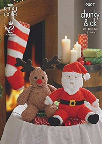 King Cole Knitting Pattern 9007 : Santa and Rudolph Toys