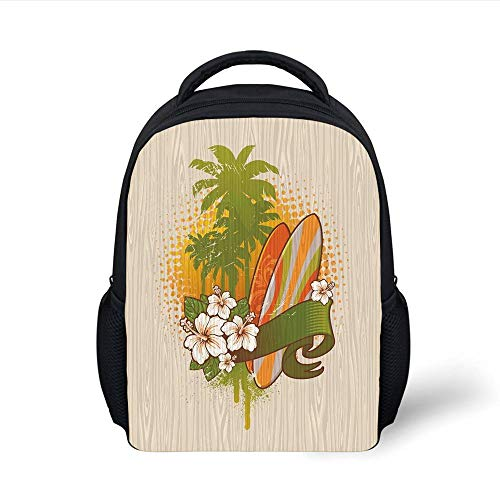 Kids School Backpack Surf,Vintage Inspired Exotic Surf Painting on a Wood Board with Hibiscus Water Sports Art,Multicolor Plain Bookbag Travel Daypack -