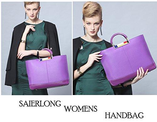 SAIERLONG Nuovo Donna Viola Deluxe Genuine Leather sacchetto di frizioni Borse Borse a tracolla trasversale del corpo Wristlets Viola