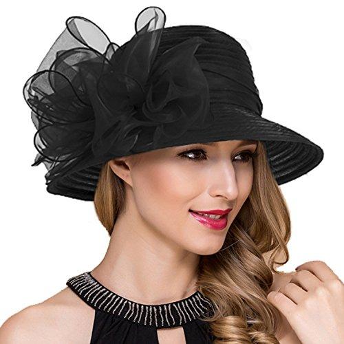 Königliche Ascot Derby Cloche Hüte der Frauen britische Kirchen-Kleid-Tee-Party Eimer Hut S051 (Schwarz) (Frauen Schwarzen Und Weißen Hut)